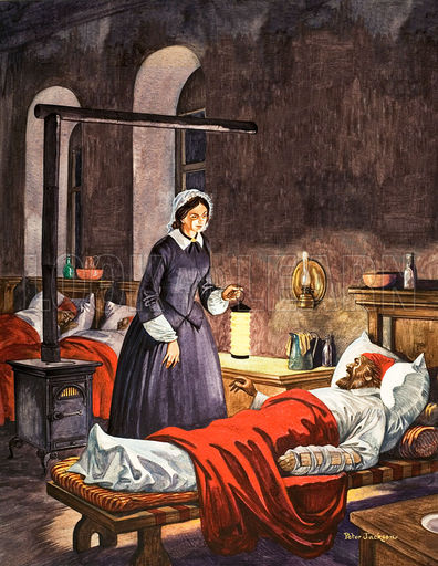 Florence Nightingale. The Lady with the Lamp, visiting the sick soldiers in hospital